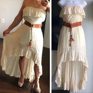 High low ruffled boho hippie country  off shoulder
